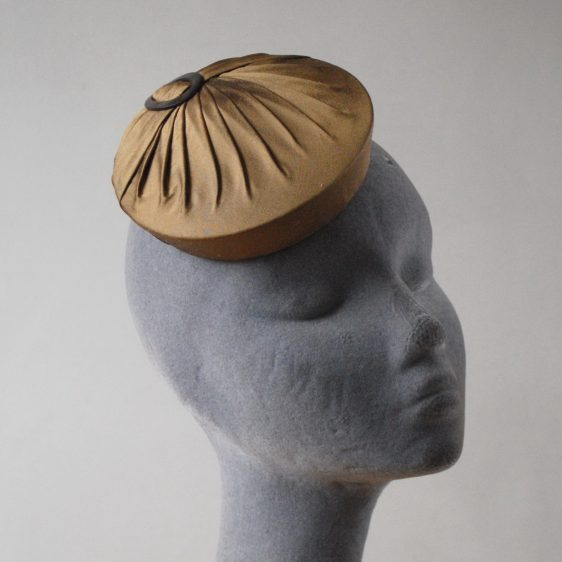 Gold Silk Small Button Hat with Buckle angle