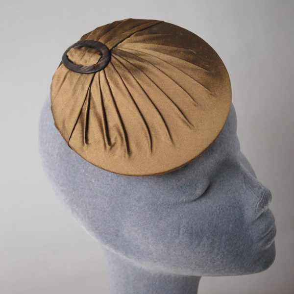Gold Silk Small Button Hat with Buckle detail 2