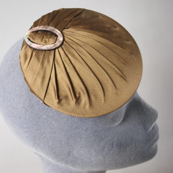 Gold Silk Small Button Hat with Buckle detail