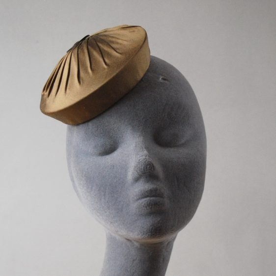 Gold Silk Small Button Hat with Buckle