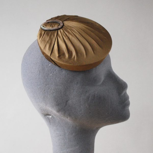 Gold Silk Small Button Hat with Buckle side