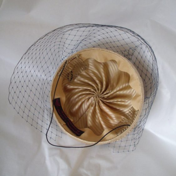 Gold Straw Button Hat with Bow and Birdcage Veil