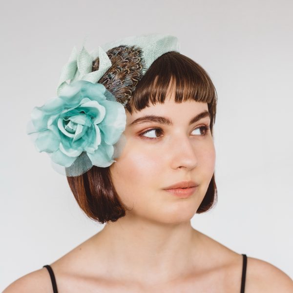 Green Sinamay Half Hat with Feathers and Rose Flower