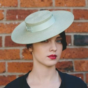 Green Straw Boater with Ribbon Bow angle