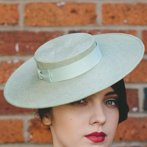 Green Straw Boater with Ribbon Bow detail 2