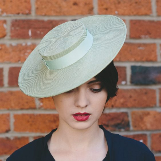 Green Straw Boater with Ribbon Bow top view