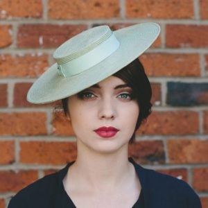 Green Straw Boater with Ribbon Bow