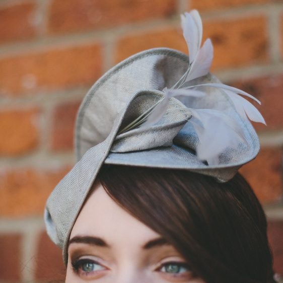 Grey Straw Headpiece with Feathers detail 2