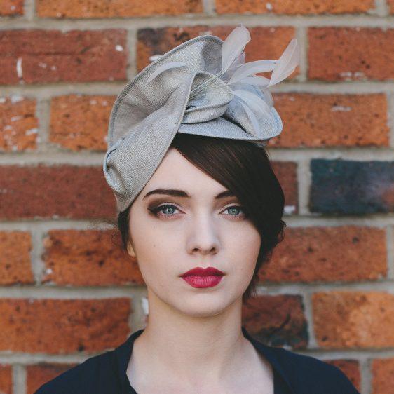 Grey Straw Headpiece with Feathers