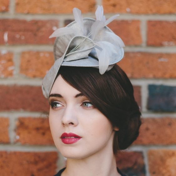 Grey Straw Headpiece with Feathers other side