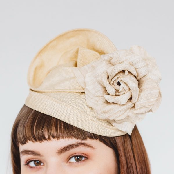 Gold Straw Headpiece with Rose Flower