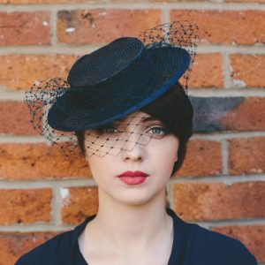 Navy Straw Boater with Ribbon Bow and Veil