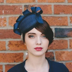 Navy Sinamay Button Hat with Curl