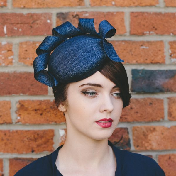 Navy Sinamay Button Hat with Curl angle