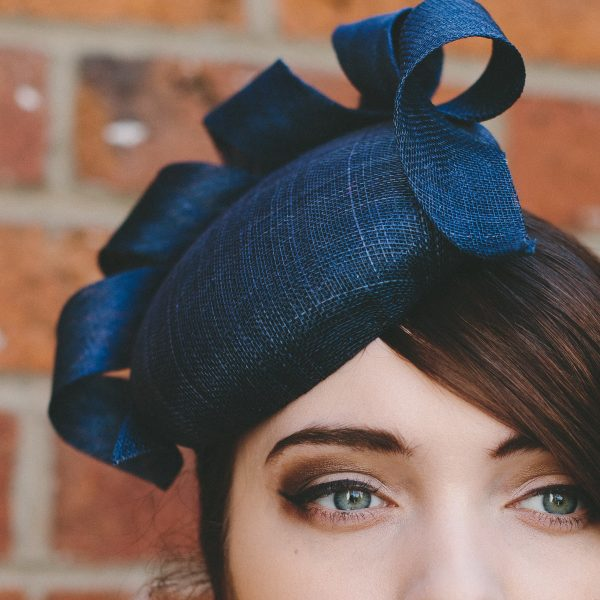 Navy Sinamay Button Hat with Curl detail
