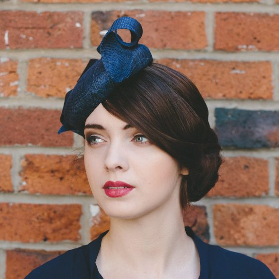 Navy Sinamay Button Hat with Curl side