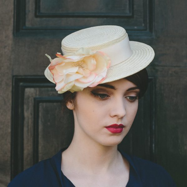 Cream Boater Hat with Cream and Pink Silk Flower angle 2