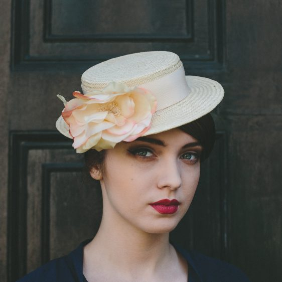 Cream Boater Hat with Cream and Pink Silk Flower angle
