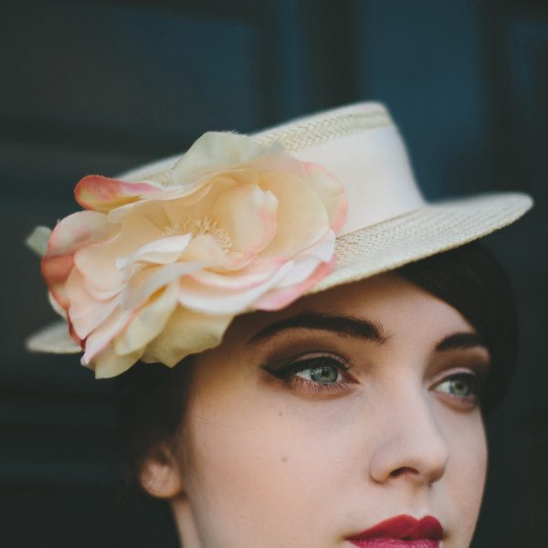 Cream Boater Hat with Cream and Pink Silk Flower detail 2