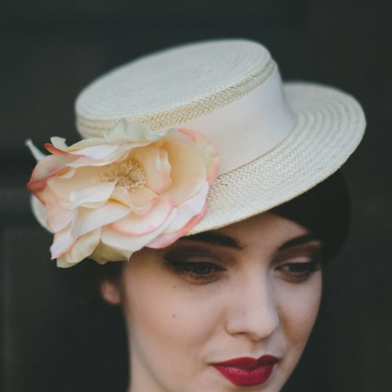 Cream Boater Hat with Cream and Pink Silk Flower detail