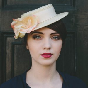 Cream Boater Hat with Cream and Pink Silk Flower