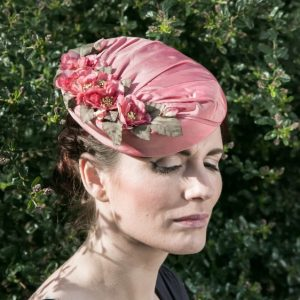 Pink Silk Hat with Blossom Flowers