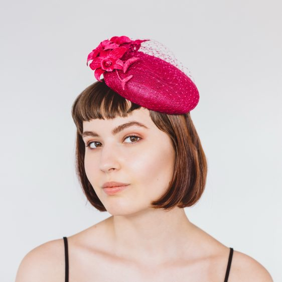 Pink Sinamay Button Hat with Orchid Flowers