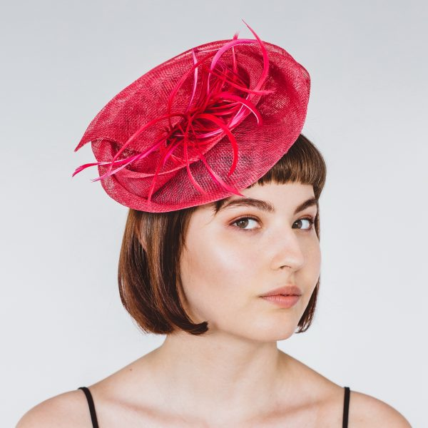 Pink Sinamay Headpiece with Feathers