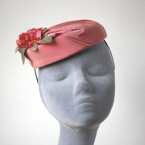 Pink Silk Hat with Blossom Flowers front