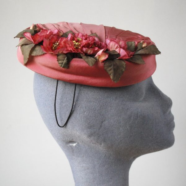 Pink Silk Hat with Blossom Flowers side