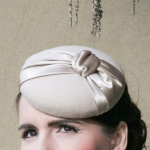 Stone Felt Button Hat with Satin Knot detail