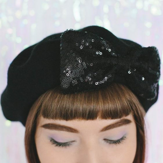 Black Beret Black Sequin Bow detail