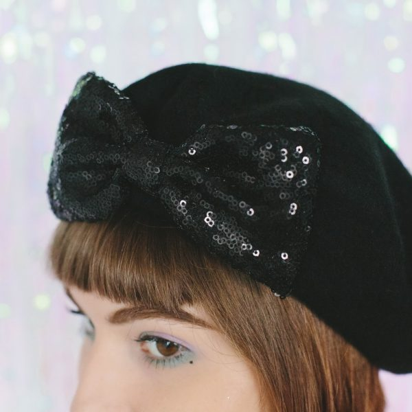 Black Beret Black Sequin Bow detail 2