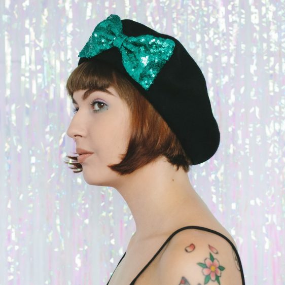 Black Beret Emerald Sequin Bow side