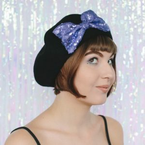 Black Beret Lilac Sequin Bow angle