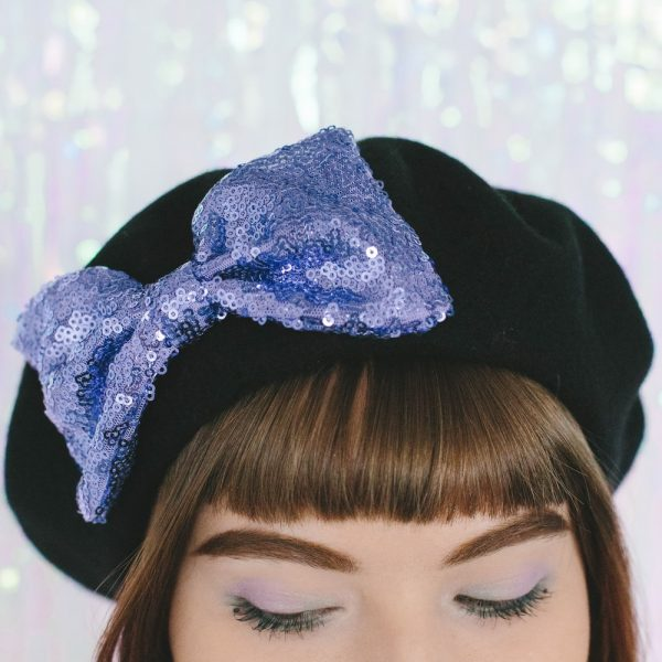 Black Beret Lilac Sequin Bow detail