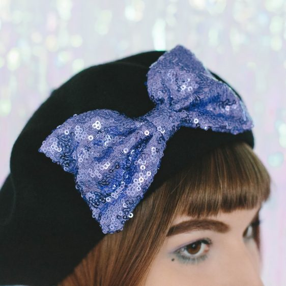 Black Beret Lilac Sequin Bow detail 2
