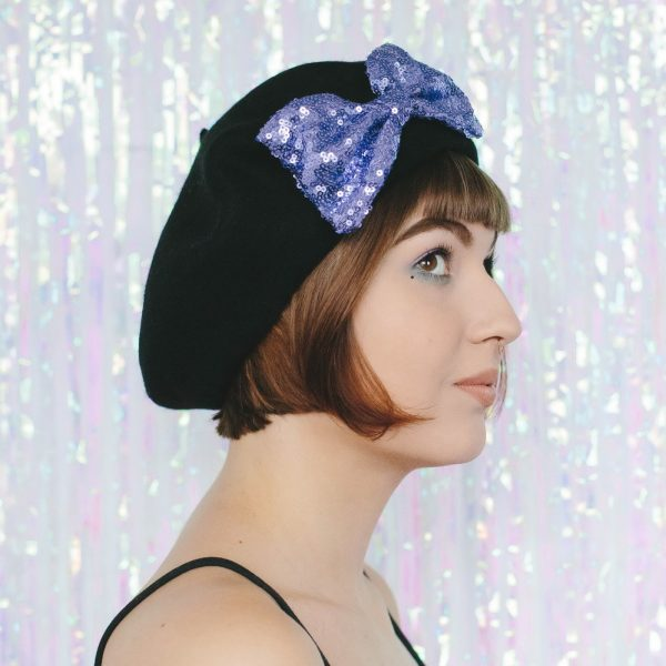 Black Beret Lilac Sequin Bow side