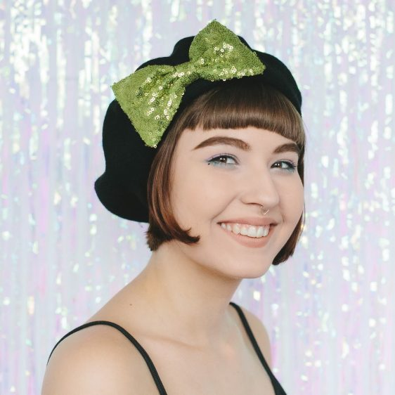 Black Beret Lime Sequin Bow angle