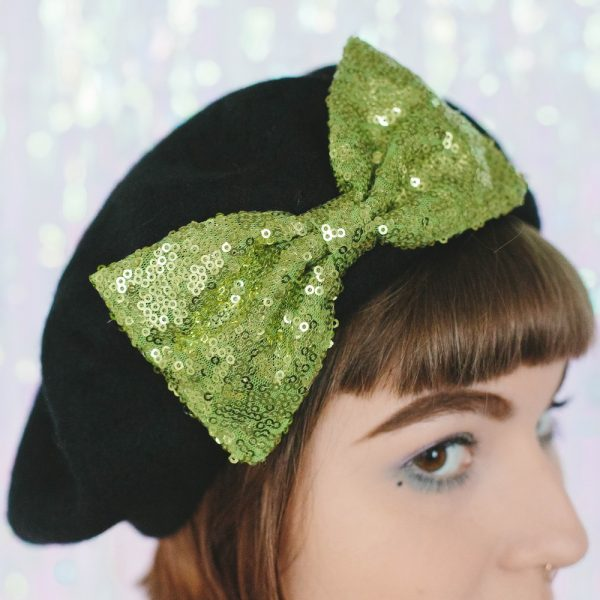 Black Beret Lime Sequin Bow detail 2