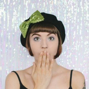 Black Beret Lime Sequin Bow front