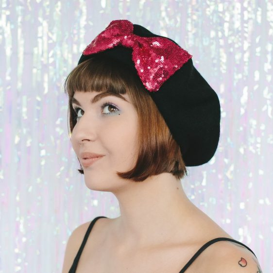 Black Beret Pink Sequin Bow angle