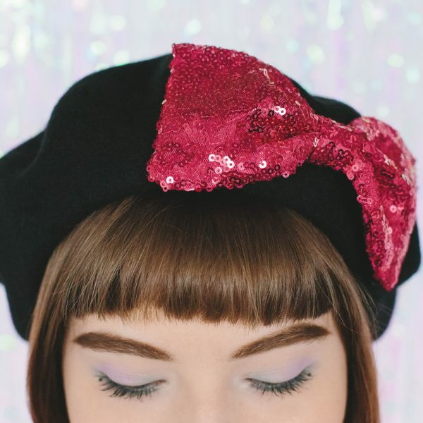 Black Beret Pink Sequin Bow detail