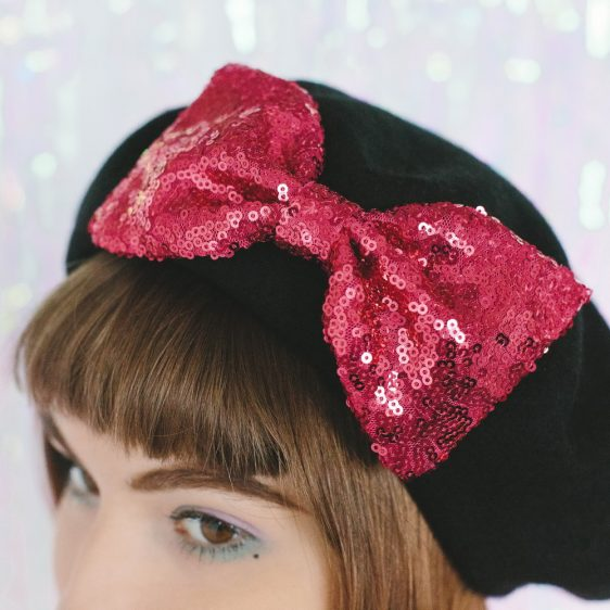 Black Beret Pink Sequin Bow detail 2
