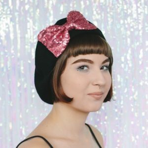 Black Beret Rose Pink Sequin Bow angle