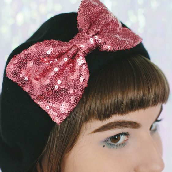 Black Beret Rose Pink Sequin Bow detail 2