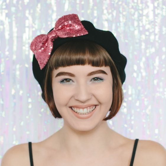 Black Beret Rose Pink Sequin Bow front