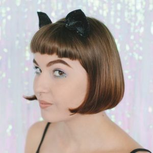 Black Glitter Ears Headband angle