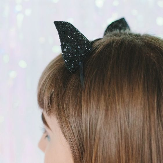 Black Glitter Ears Headband back