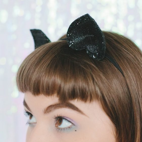 Black Glitter Ears Headband detail